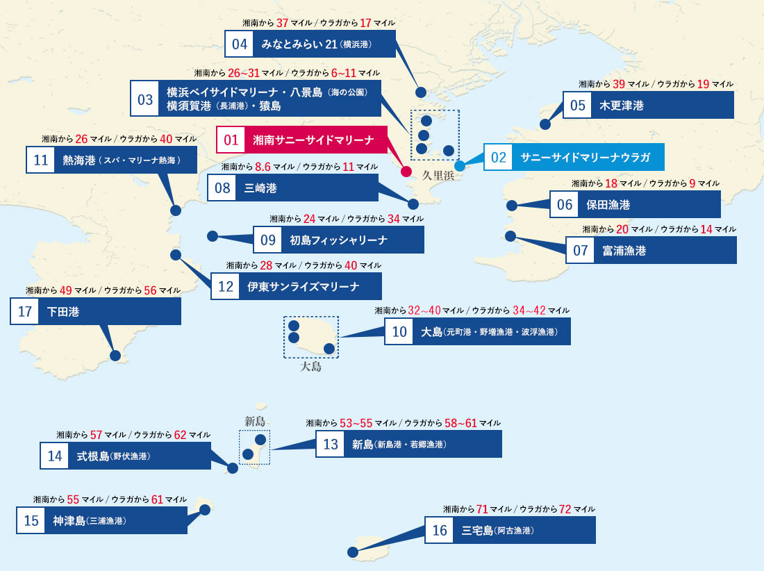 湘南サニーサイドマリーナ  航路マップ