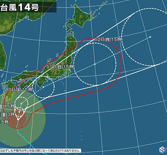 台風14号接近のため台風対策を行います